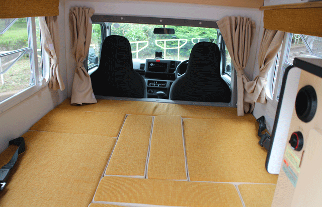 Fully flat bed transformed from dining style!